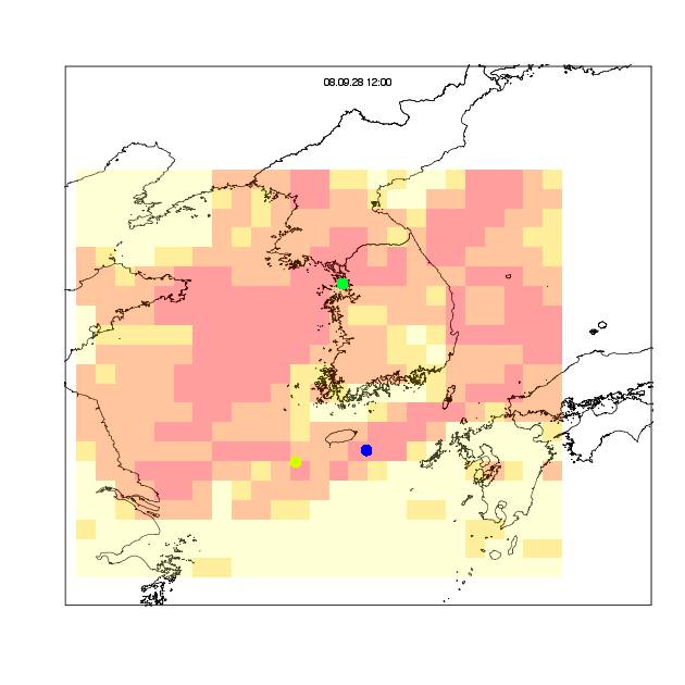 Movements of Oriental honey-buzzards and the temporal change in the estimated thermal energies of higher altitudes (600-1000 m) in the East China Sea, the Korea/Tsushima Strait, and the Korea Peninsula during the 2007-2009 spring.